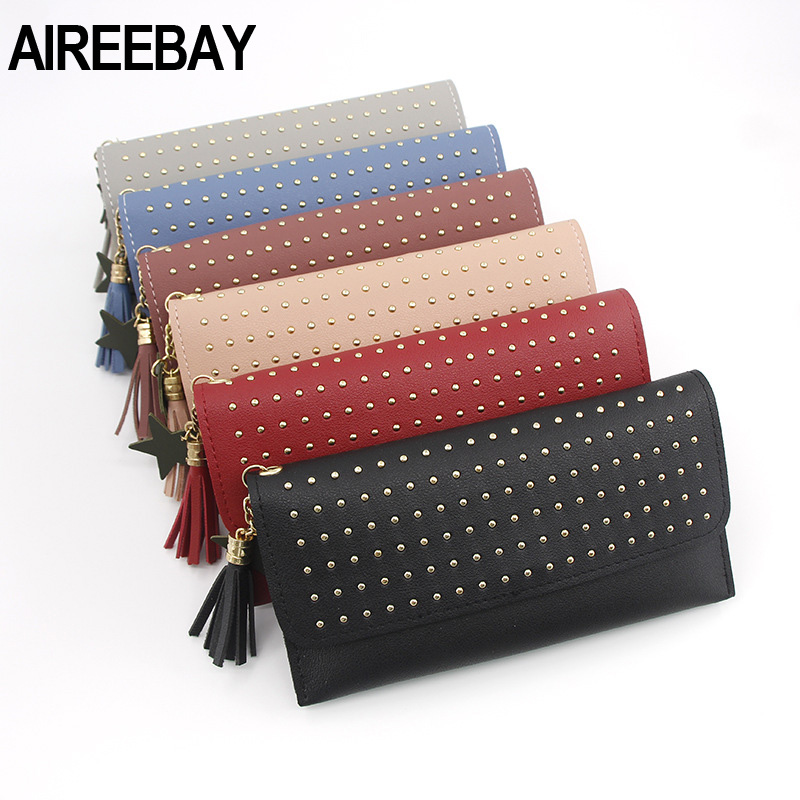 AIREEBAY New Women Leather Wallets Female Long Tassel Purses Woman Phone Cion Card Holders Ladies Clutch Bag With Rivet