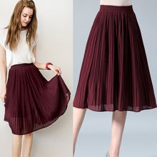 Women Chiffon Skirt Summer Thin Solid Pleated Skirts Womens Saias Midi Faldas Vintage