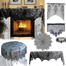 Halloween Black Warp Knitted Bat Skull Headband Fringed Curtain Fireplace Cloth Party Holid