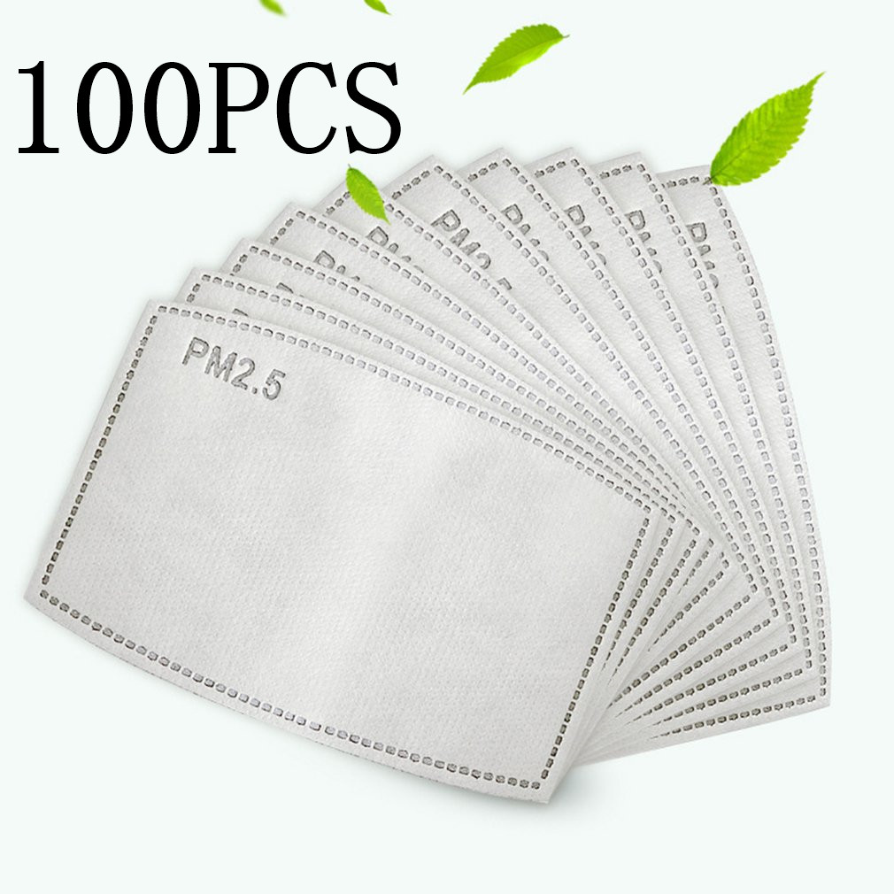 100PCS Mask Pads Disposable Melt-Blown Cloth Mask Gasket Replacement Non-Woven Dust Pad Three Layers Protective 2020