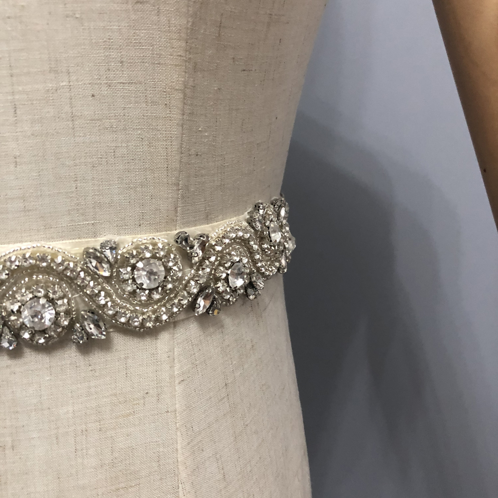 Sparkling Crystal Bridal Belts Ivory Wedding Accessories L&P DQL Studio Real Picture Bridal Sashes