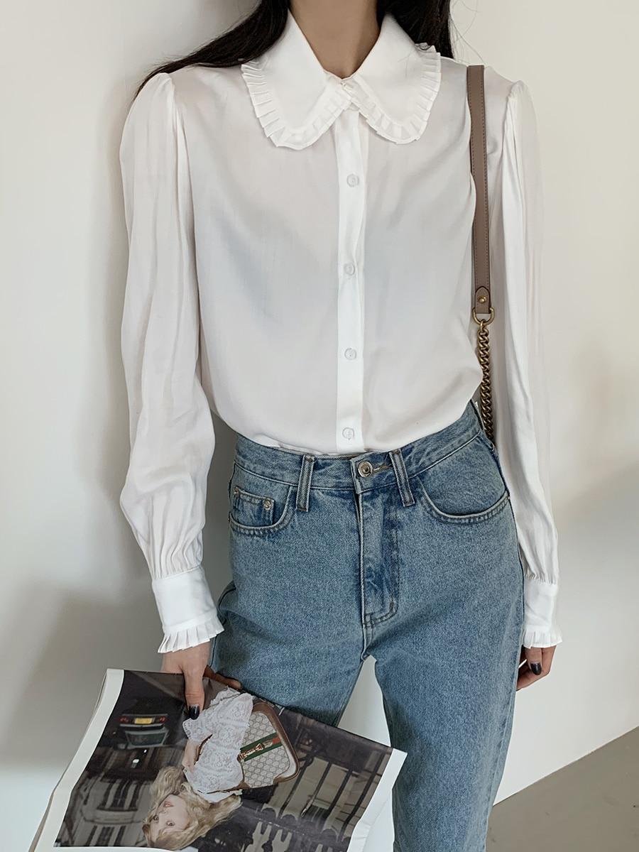 H3f0ec249175e42b6820f574f092338e2f - Spring / Autumn Korean Frilled Turn-Down Collar Long Sleeves One-Button Cuffs Solid Blouse