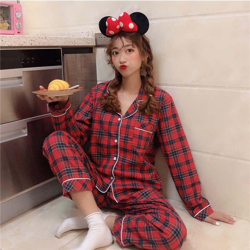 Womens Pajamas Sleepwear Plaid Pajama Set Women Cotton Pyjamas Women Spring Loose Pijamas Women Long Sleeve Plaid Sleepwear