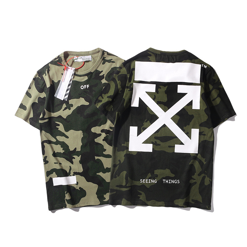 19ss Europe And America Summer New Style Arrowhead Lv Mi Cai Printing Short-sleeved T-shirt Men And Women Couples Loose-Fit Half