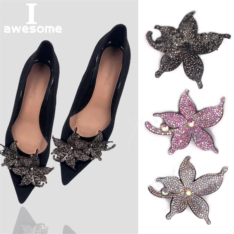 Stars Shining Bridal Wedding Party Shoes Accessories High Heels Boots Shoes DIY Manual Rhinestone Shoe Decorations Shoe Flower