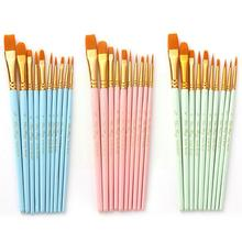 10Pcs/Pack Blue Nylon Brushes Set For Drawing Painting Multifunctional Acrylic Watercolor Oil Supplies Handle Wooden Art O8C8