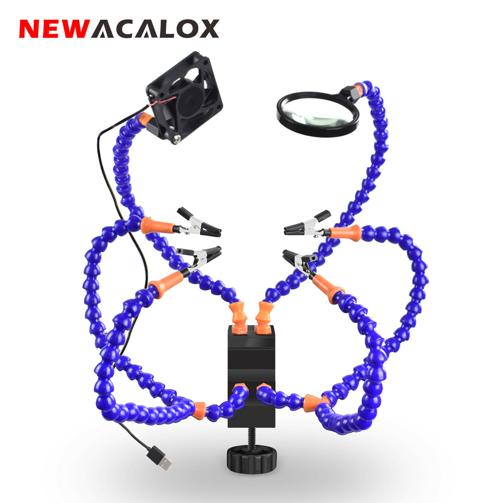NEWACALOX Desk Clamp Soldering PCB Holder Tool Crafts Repair Helping Welding Station 3X Magnifier Soldering Third Hand Tool Kit