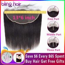 Bling Hair 13x6 синтетический fronar Ear to Ear Closure бразильские прямые человеческие волосы закрытие бесплатно/средний/три части Remy натуральный цвет