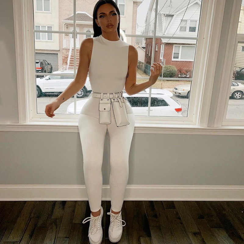 Hirigin Kasual Jumpsuit Wanita O Leher Lengan Panjang Kurus Baju Monyet Klub Malam Keseluruhan Pakaian Streetwear