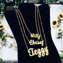 Personality necklace name gold custom curb box exaggerated jewelry birthday gift