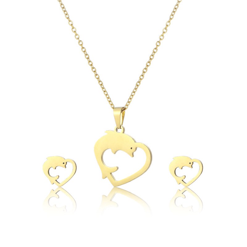 Small Stainless Steel Love Heart Animal Jumping Dolphin Tail Charm Pendant Chain Necklace Sets Choker For Women Fish Jewelry