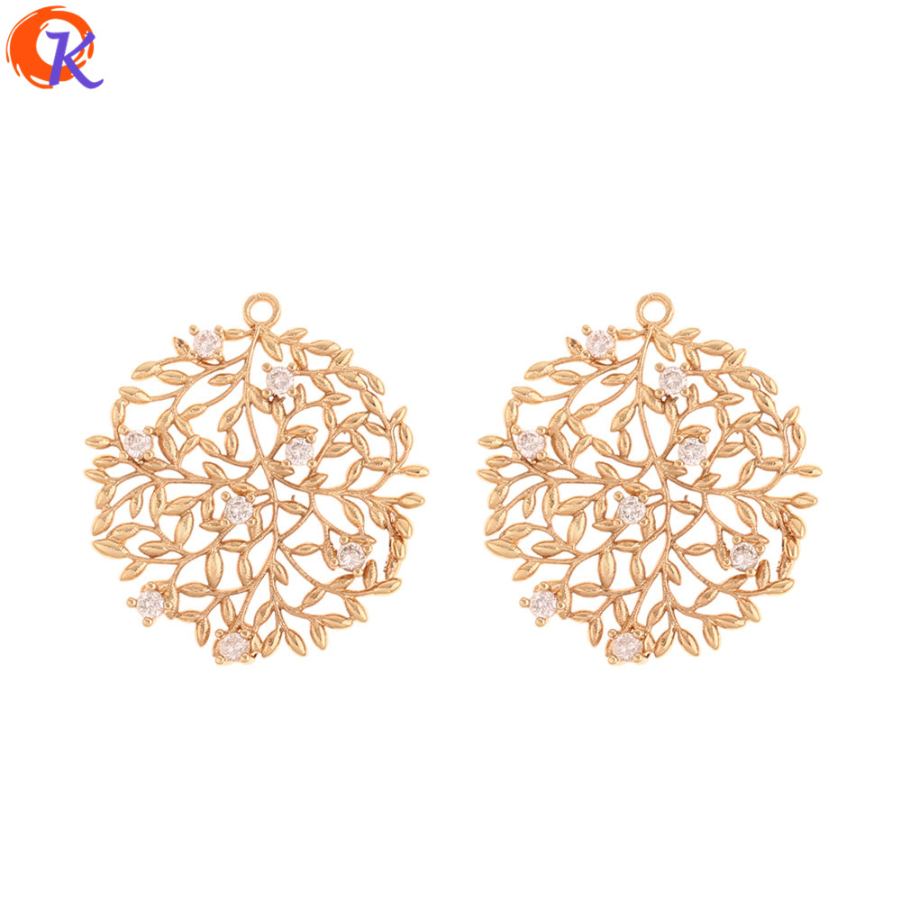Cordial Design 10Pcs 25*27MM Jewelry Accessories/CZ Charms/Genuine Gold Plating/Leaf Shape/Hand Made/Earring Findings/DIY Making
