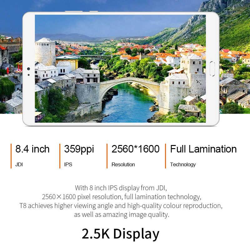 تيكلاست T8 تابلت أندرويد 8.4 بوصة تابلت نتبووك بصمة التعرف على الكمبيوتر 2560x1600 4GB RAM 64GB ROM MTK8176 13.0MP