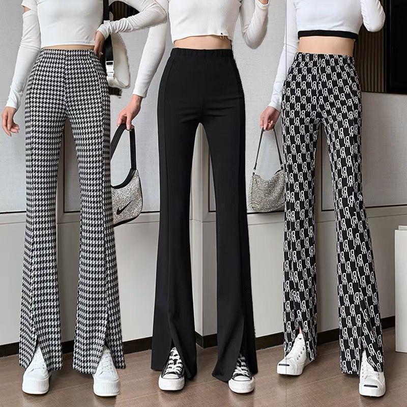 2021 Весенняя Новинка Высокая Талия разрез расклешенные штаны для похудения в клетку повседневные широкие брюки Швабра брюки для мужчин и же...