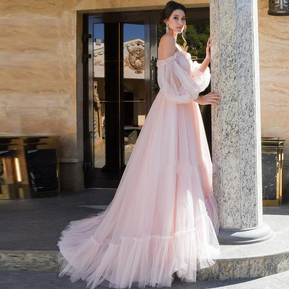 Pink Wedding Dress Fashion Off-shoulder A-Line Puff Sleeves Bride Dresses Soft Tulle Robe De Mariee Back Lace Up Wedding Gown