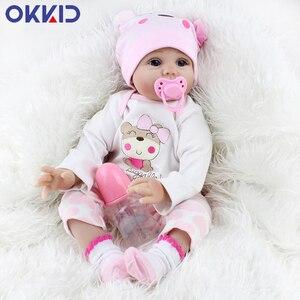 OKKID 45 см Reborn силиконовые конечности, мягкие тела, детские куклы, игрушки для девочек, реалистичные, новорожденные, малыш, кукла, куклы, Playmate, п...