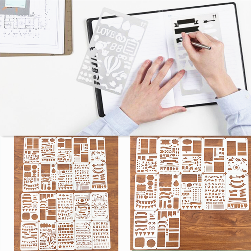 12/20 pçs conjunto de estêncil diário bala planejador de plástico diy modelo de desenho diário planejador diário caderno diário scrapbook Kit de scrapbooking    -