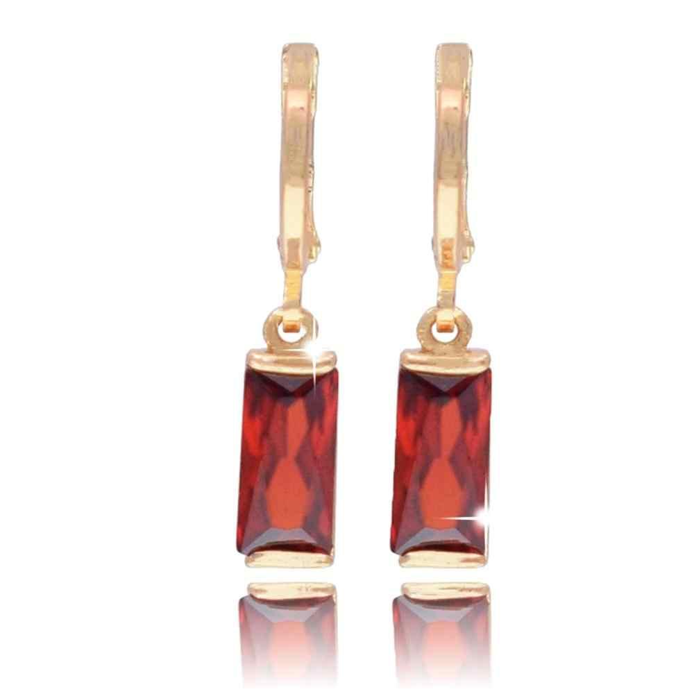 Yoomuna עלה זהב 585 צבע עגילי ורוד כיכר zirconia אבן פירסינג להתנדנד עגילים לנשים עגילי טיפת תכשיטים