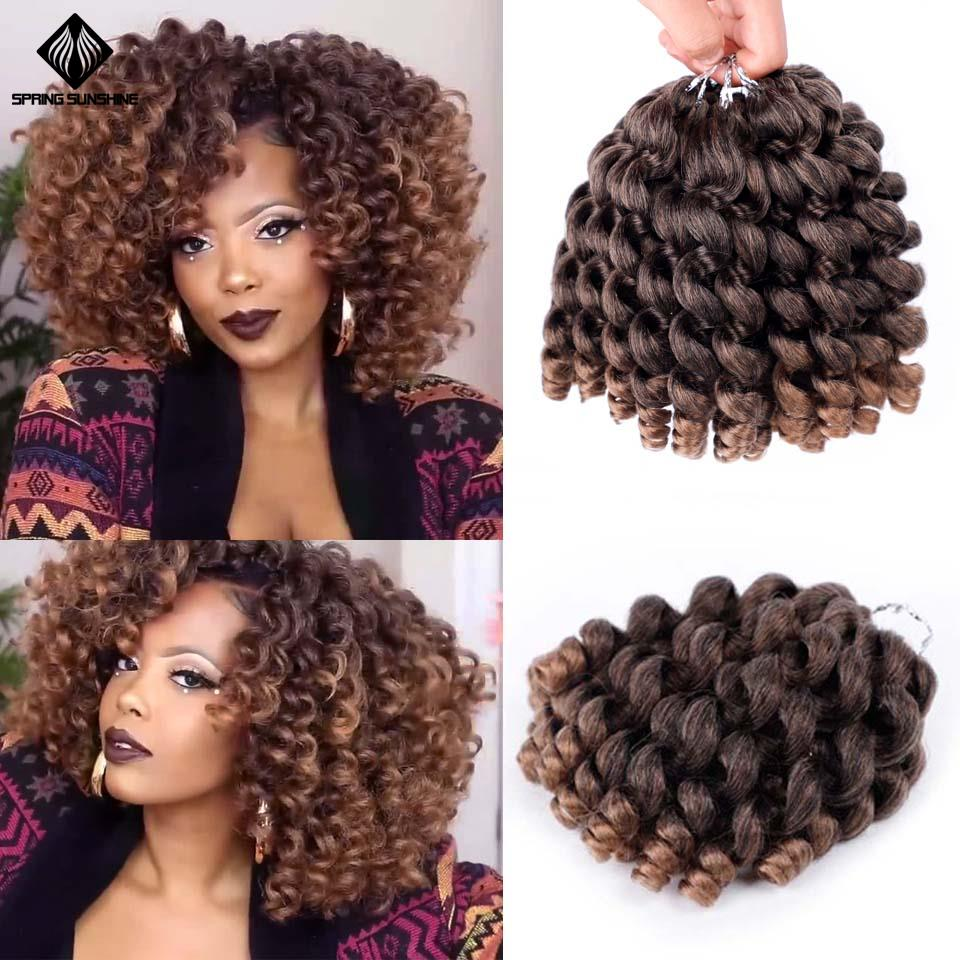 Ombre Jumpy Wand Curl Crochet Braids Hair Jamaican Bounce Curl Synthetic Braiding Hair Extension For Black Women 8inch 20strands