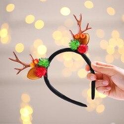 Newly Christmas Antlers Hoop Decoration Girl Hairpin Cute Hair Reindeer Antlers Headband Elk Headdress FIF66