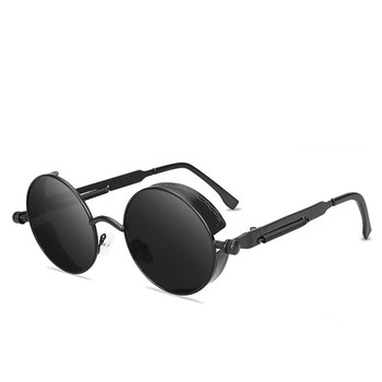 Classic Gothic Steampunk Style Round Sunglasses Men Women Brand Designer Retro Round Metal Frame Col
