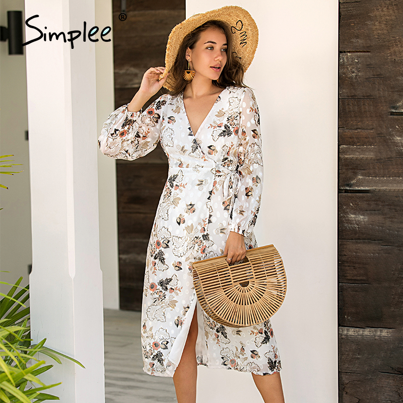 Simplee Sexy V-neck Floral Print Long Dress Elegant Long Sleeve Female Flowy Maxi Sundress Summer Beach Ladies Holiday Dresses