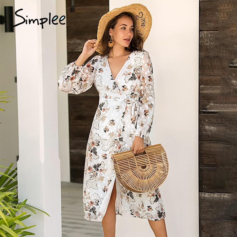 Simplee Sexy V-neck Floral Print Long Dress Elegant Long Sleeve Female Flowy Maxi Sundress Summer Beach Ladies Holiday Dresses