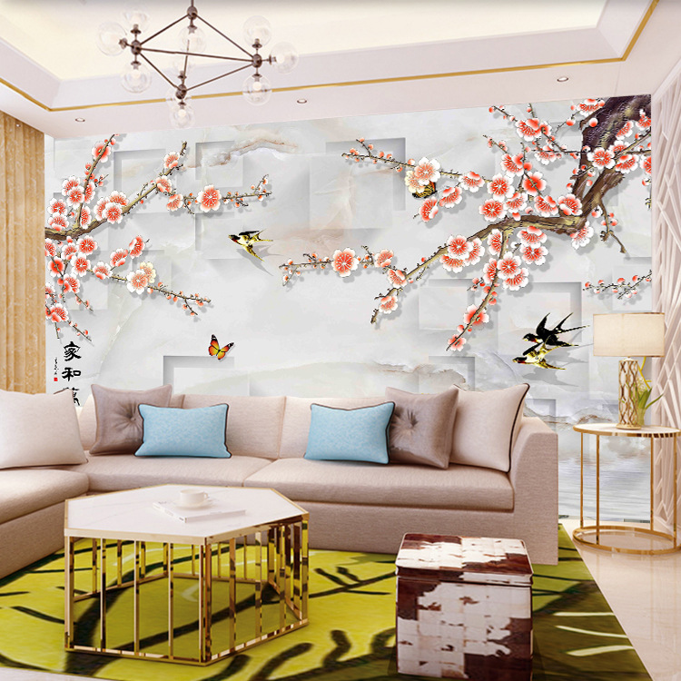 Bedroom Living Room 3D Seamless Wall Cloth Film And Television Wall Wallpaper Mural New Chinese Style TV Background Wallpaper Fl