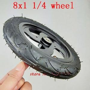 """Image 3 - Neumático de aleación de aluminio para patinete, tamaño 8x1, 1/4, 32mm de ancho, rueda inflada de 8"""""""