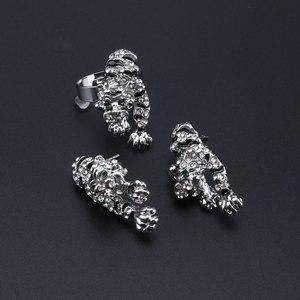 Image 5 - Leopar panter hayvan figürlü mücevherat seti emaye kristal Rhinestone kolye küpe bilezik yüzük seti kadınlar için parti takı