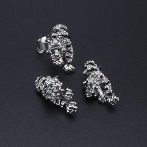 Image 5 - PANTERA Conjunto de joyería con diseño de leopardo para mujer, collar, pendientes, pulsera, anillo, cristales esmaltados, diamantes de imitación