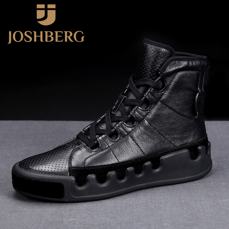 JOSHBERG Fashion Trendy High-Top Trendy Shoes Men Soft Designer Shoes Trendy Genuine Leather Shoes Men Tenis Casual Masculino фото