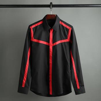 New 100% Cotton Mens Shirts Luxury Long Sleeve Stripe Splicing Casual Mens Dress Shirts Fashion Slim Fit Man Shirts 4XL