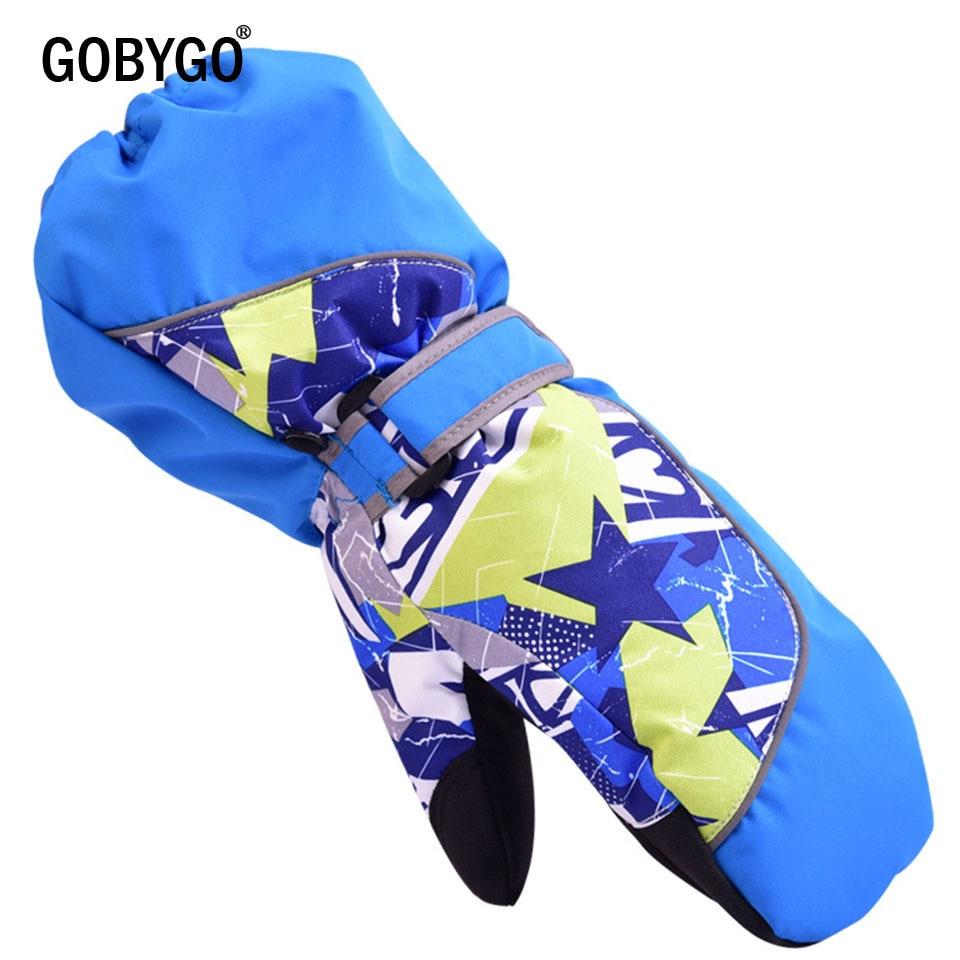 GOBYGO Children Winter Warm Ski Gloves Boys/Girls Sports Waterproof Windproof Non-slip Snow Mittens Extended Wrist Skiing Gloves