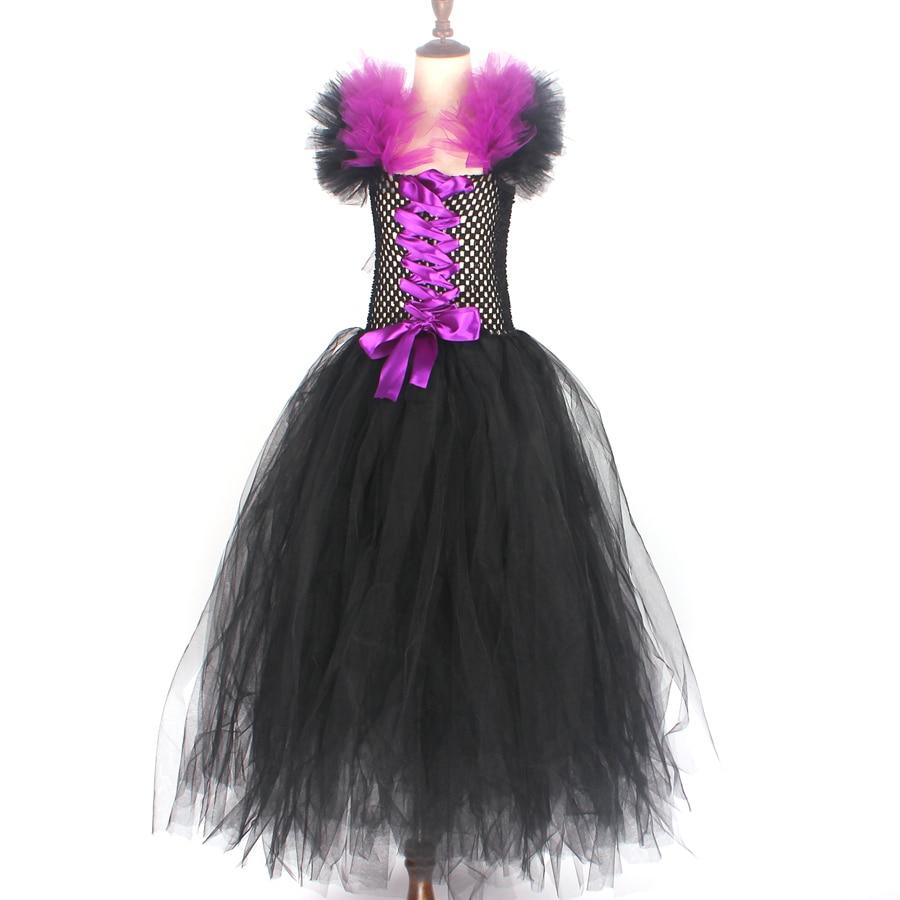 H3f0fb9764ddf4ad781ccd782cc41c17fr Kids Maleficent Evil Queen Girls Halloween Fancy Tutu Dress Costume Children Christening Dress Up Black Gown Villain Clothes