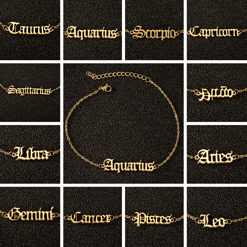 Old English Punk Charm Anklets Classic Letter Ankle Bracelet Stainless Steel 12 Constellation Jewelry Women 12 Zodiac Sign Gift