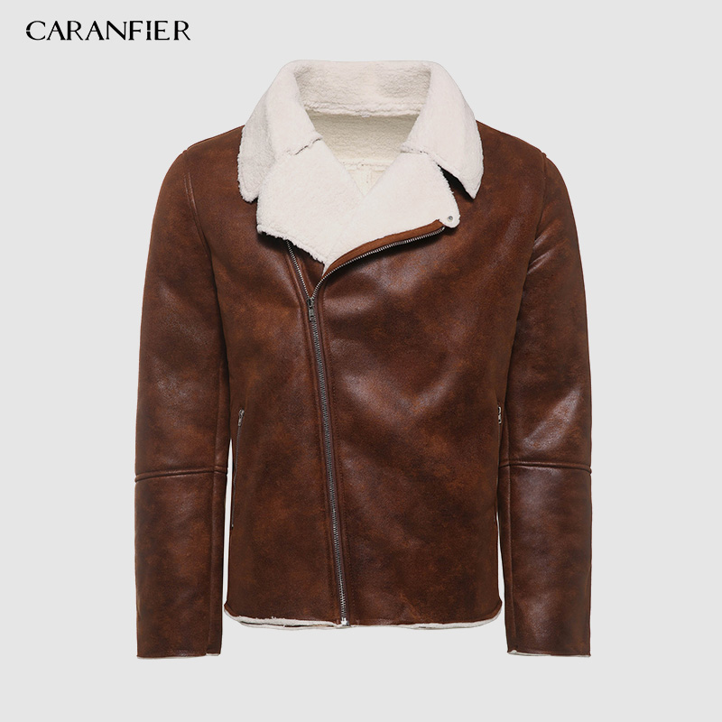CARANFIER 2019 New Zipper Closure For Men Leather Jacket Autumn Winter Warm Fur Lining Lapel Leather Outerwear Layer Jacket Man