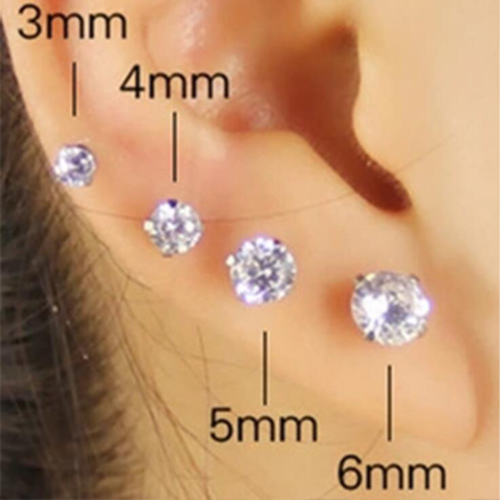 1 pcs Medical Stainless steel Crystal Zircon Ear Studs Earrings For Women/Men 4 Prong Tragus Cartilage Piercing Jewelry