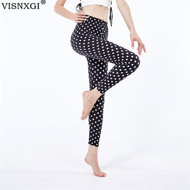 VISNXGI Autumn Vertical Stripe Dot Printing Women Legging Soft Gym Floral Pants Fashion Stretchy Skinny Casual Work Out Trousers 1