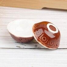 2Pcs Dollhouse Mini Tableware Ceramics Round Rice Bowl Doll House Kitchen Toy