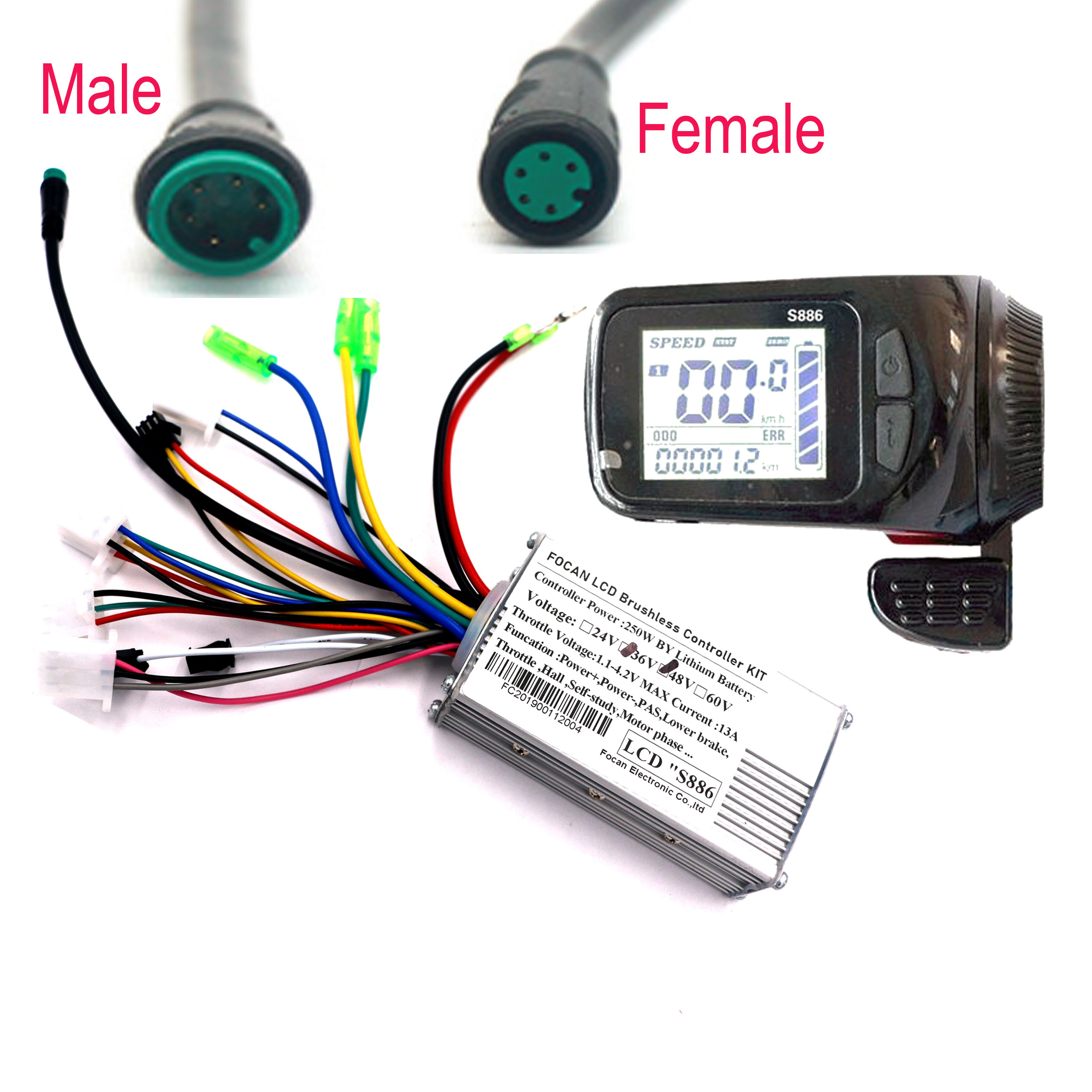 Ebike Controller Finger Throttle LCD Display For Electric Bike Electric Scooter Controller Brushless Motor Electric Bicycle