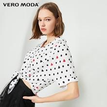 Vero Moda Women's Polka Dots Print Lace-up Drop-shoulder Sleeves T-shirt | 319204505