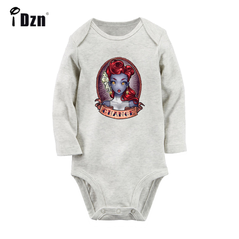Retro Tattoo Girl Red Hair Change Pinup Art Design Newborn Baby Bodysuit Toddler Long Sleeve Onsies Jumpsuit Cotton Clothes