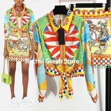 Two piece outfits for women Vintage Print bright color Fitted Waist Long Sleeve Shirt Top Fur Balls Hem High Waist Short Skirt