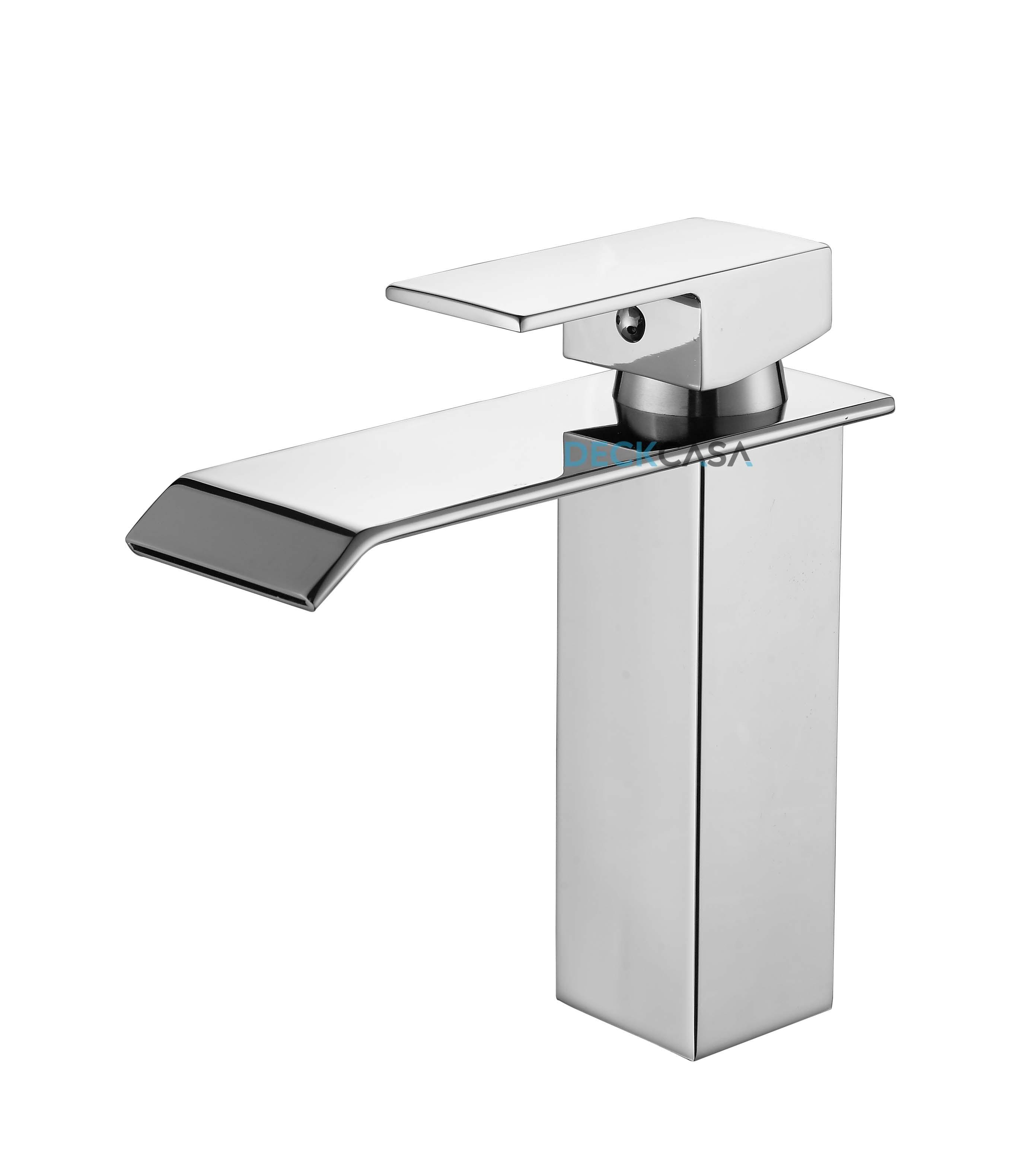 Torneira Misturador Monocomando Cascata Cachoeira Vaidade Do Banheiro Metal Baixa Luxo Quente E Fria