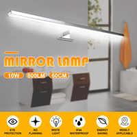 Interior conduziu a lâmpada de parede espelho luz 10 w 800lm branco 60cm à prova dwaterproof água alumínio iluminação banheiro espelho maquiagem luz