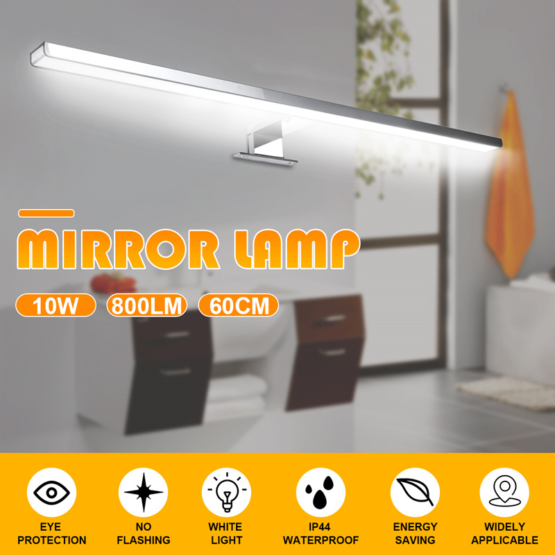 Lámpara de espejo de luz Led para pared de interior lámpara de pared 10W 800LM blanco 60cm impermeable aluminio iluminación baño sanitario espejo maquillaje Luz