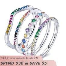 Bamoer – bagues de mariage empilables en argent Sterling 925, couleur arc-en-ciel CZ, anneau de doigt élégant plaqué platine pour femmes
