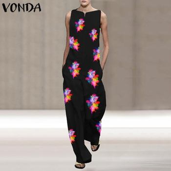 VONDA Vintage Rompers Womens Jumpsuits 2020 Ladies Casual Floral Printed Long Playsuits Bohemian Overalls S-5XL Women's Trousers 3