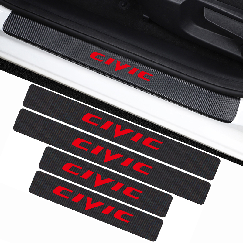 Car Styling 4PCS Carbon Fiber Car Door Waterproof Protect Sill Plate Stickers For Honda Civic Decoration Accessories